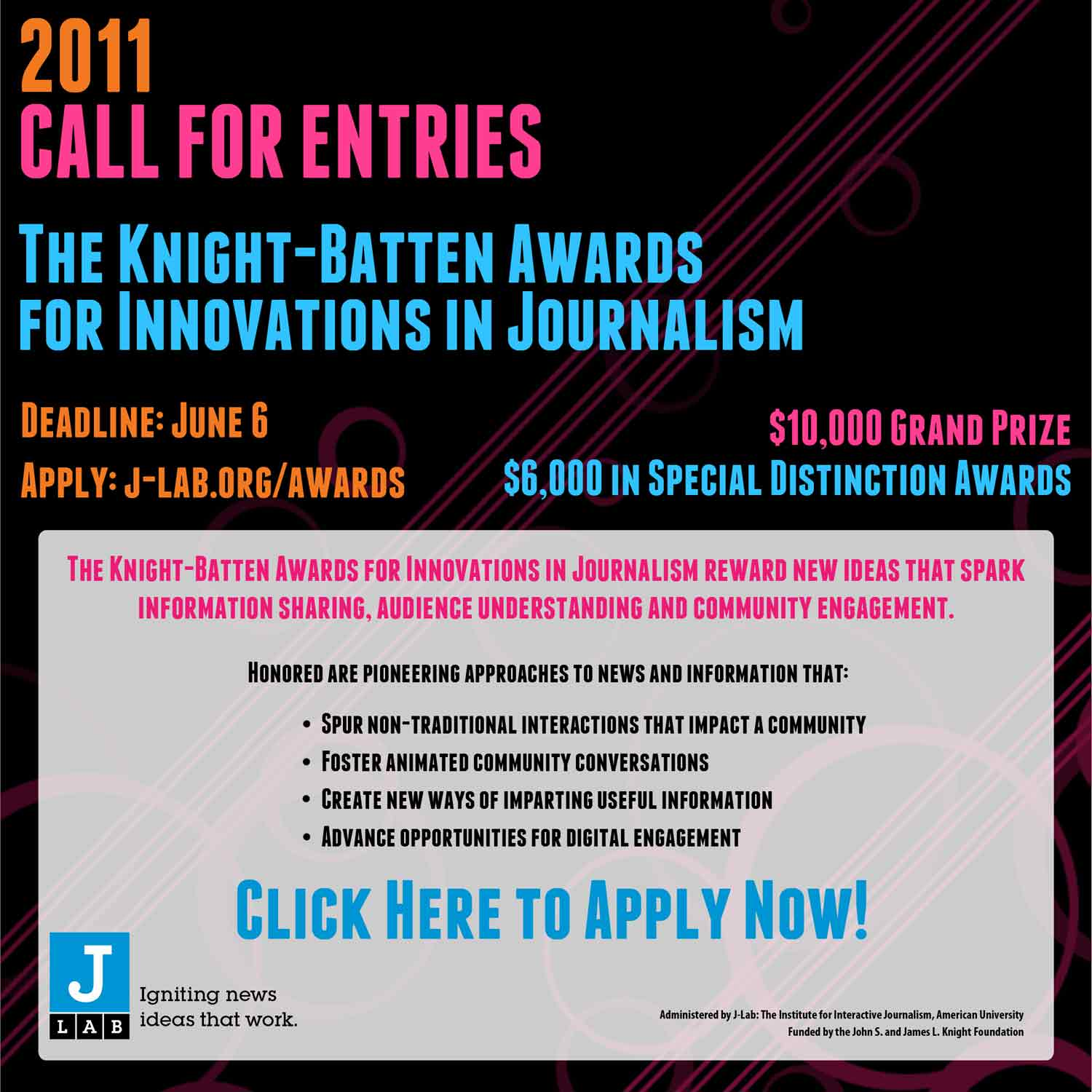 Apply now for the Knight-Batten Awards for Innovations in Journalism. $10,000 Grand Prize!
